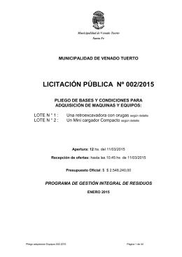 LICITACIÓN PÚBLICA Nº 002/2015 - Municipalidad de Venado Tuerto