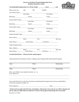 Sun Up to Sun Down Program Registration Form