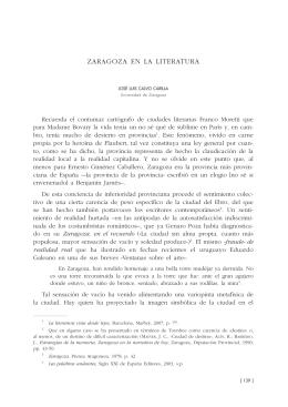 5. Zaragoza en la literatura, por José Luis Calvo Carilla