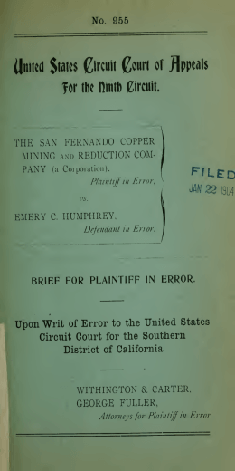 Case 955, THE SAN FERNANDO COPPER MINING AND