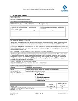 INFORME DE AUDITORÍA DE SISTEMAS DE GESTIÓN Página 1 de