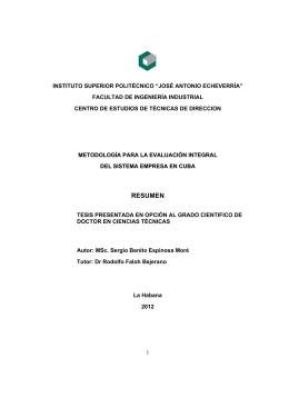 Metodología para la evaluación integral del sistema empresarial en