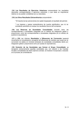 G- 13 (14) Los Resultados de Ejercicios Anteriores comprenderán