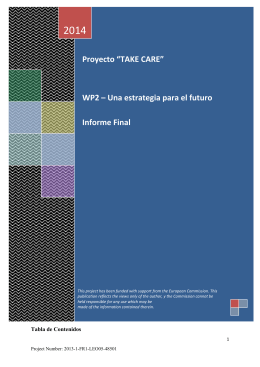 """Proyecto """"TAKE CARE"""" WP2 – Una estrategia para el futuro Informe"""
