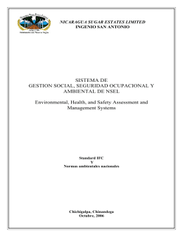 SISTEMA DE GESTION SOCIAL, SEGURIDAD OCUPACIONAL Y