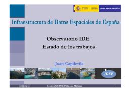 Observatorio IDE Estado de los trabajos