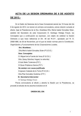 acta de la sesion ordinaria de 8 de agosto de 2013.
