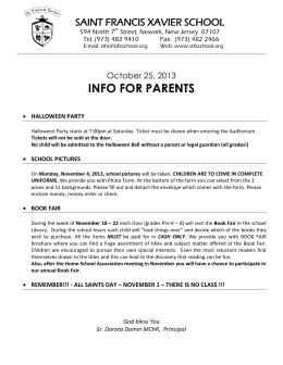 October 25, 2013 - St. Francis Xavier School, Newark NJ