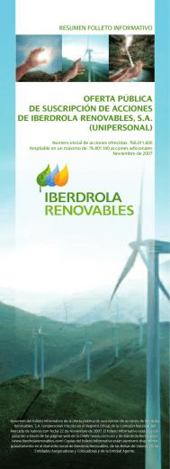 oferta pública de suscripción de acciones de iberdrola renovables, sa