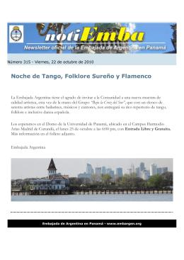 Noche de Tango, Folklore Sureño y Flamenco