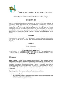 reglamento de arbitraje - Asociacion Deportiva de Billar de Guatemala