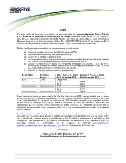 A V I S O - Fondos de Inversión Banamex