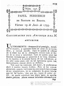Papel periódico de la Ciudad de Santafé de Bogotá No. 197