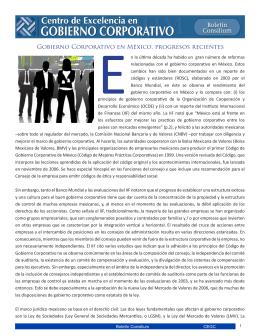 Gobierno Corporativo en México, progresos recientes
