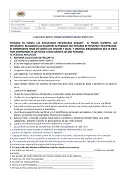 plan de de apoyo primer semestre grado sexto 2015 teniendo en