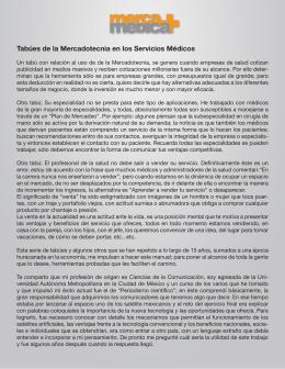 Tabúes de la Mercadotecnia en los Servicios Médicos