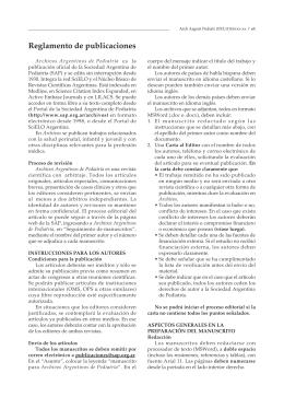 Reglamento de publicaciones - Sociedad Argentina de Pediatría