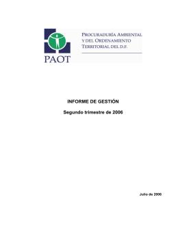 INFORME DE GESTIÓN Segundo trimestre de 2006
