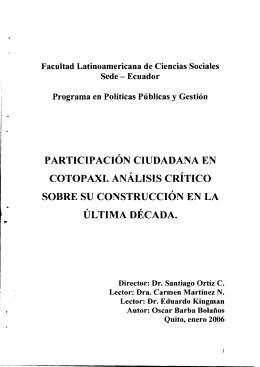 participación ciudadana en cotopaxi. analisis critico sobre su
