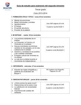 Guía de estudio para exámenes del segundo bimestre Tercer grado