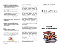 First Grade Grade Level Expectations - Prairie