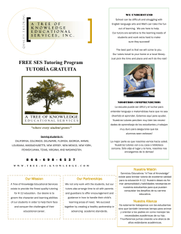 FREE SES Tutoring Program TUTORÍA GRATUITA