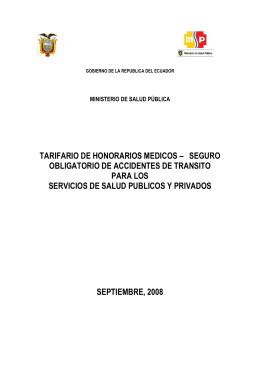 TARIFARIO DE HONORARIOS MEDICOS – SEGURO