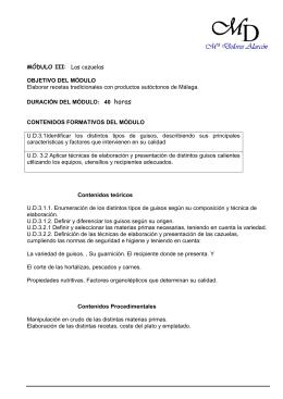 MÓDULO III: Las cazuelas OBJETIVO DEL MÓDULO Elaborar
