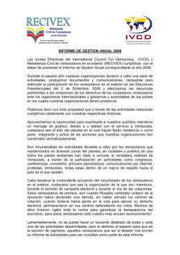 informe de gestion de recivex e ivcd del año 2006