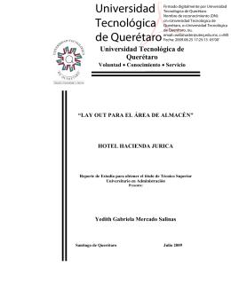 HOTEL HACIENDA JURICA - Universidad Tecnológica de Querétaro