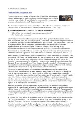 Ni el Centro ni la Periferia (I) x Subcomandante Insurgente Marcos