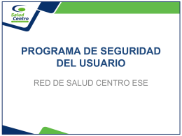 Diapositiva 1 - Red de Salud del Centro