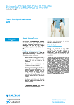 Oferta BARCLAYS PARTICULARES 2015