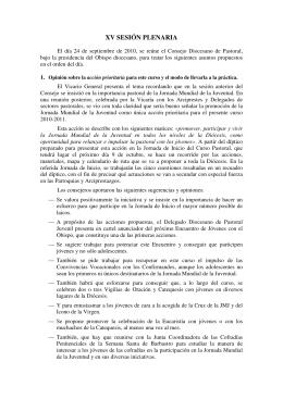 XV SESIÓN PLENARIA