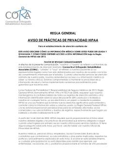 REGLA GENERAL AVISO DE PRÁCTICAS DE PRIVACIDAD HIPAA