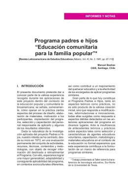 """Programa padres e hijos """"Educación comunitaria para la familia"""