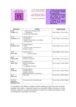 FECHAS TEMA PROFESOR - Espacio Gestalt. Formación y