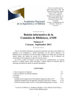 Boletín informativo de la Comisión de Biblioteca, ANIH, Número 5