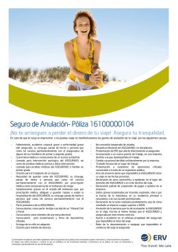 Seguro de Anulación- Póliza 16100000104