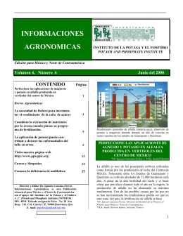 informaciones agronomicas - International Plant Nutrition Institute