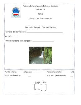 """Trabajo Extra clase de Estudios Sociales I Trimestre Tema """"El agua"""