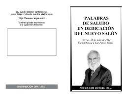PALABRAS DE SALUDO EN DEDICACIÓN DEL NUEVO SALÓN
