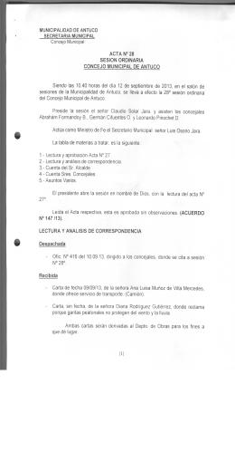 MUNICIPALIDAD DE ANTUCO SECRETARIA MUNICIPAL Concejo
