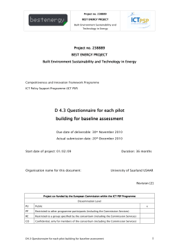 D4.3 Questionnaire for each pilot building for baseline assessment