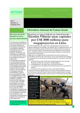 Gestión Villarán atrae capitales por US$ 3000 millones para