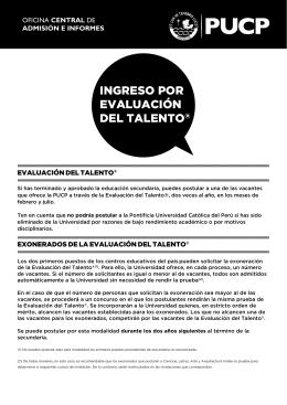 ingreso por evaluación del talento