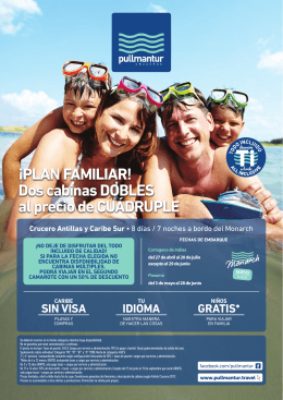 ¡PLAN FAMILIAR! Dos cabinas DOBLES al precio de CUÁDRUPLE
