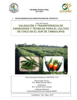 validación y transferencia de variedades y técnicas para el