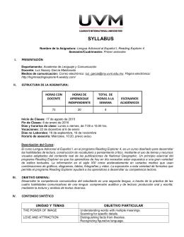 syllabus - Reading Explorer 4