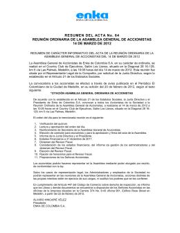 Extracto Acta 64 - Enka de Colombia